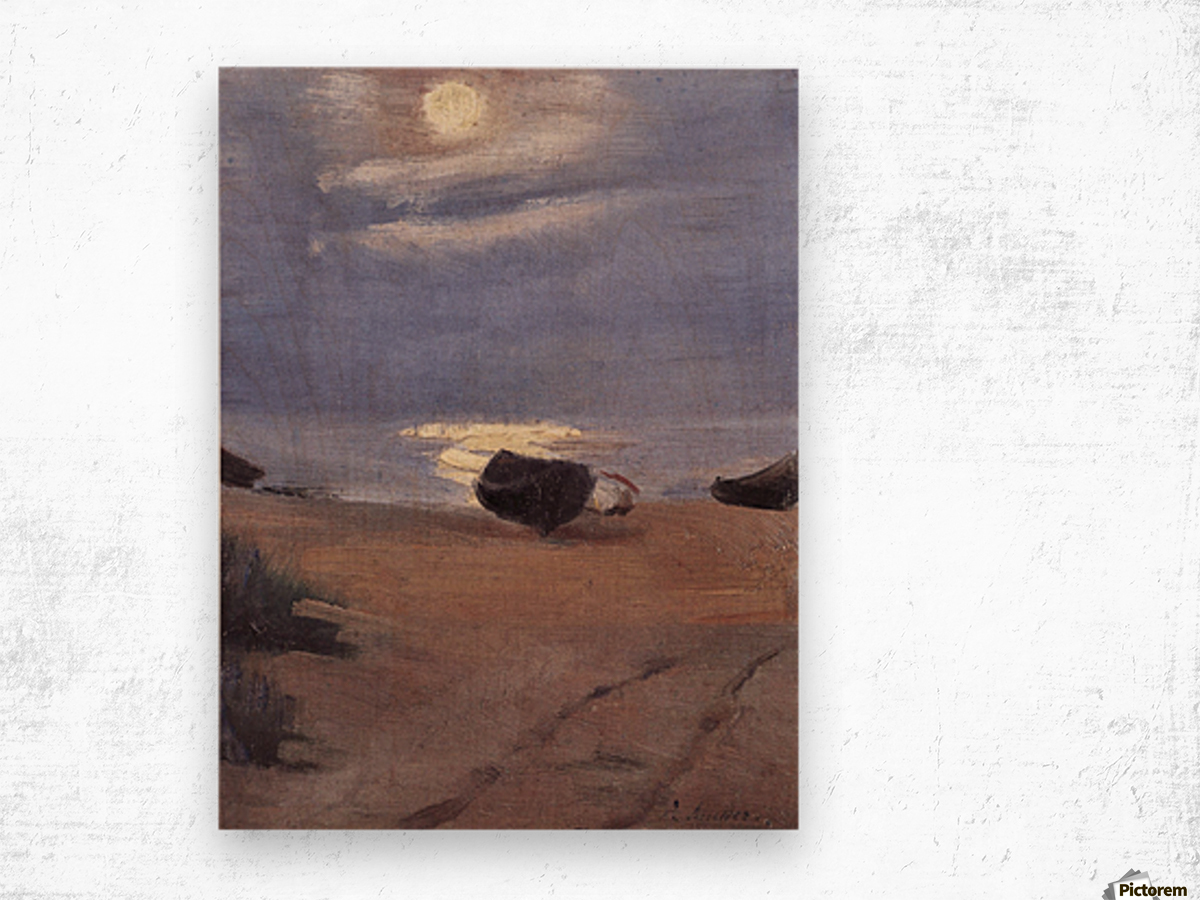 Boats in the moonlight on South Beach by Anna Ancher Wood print