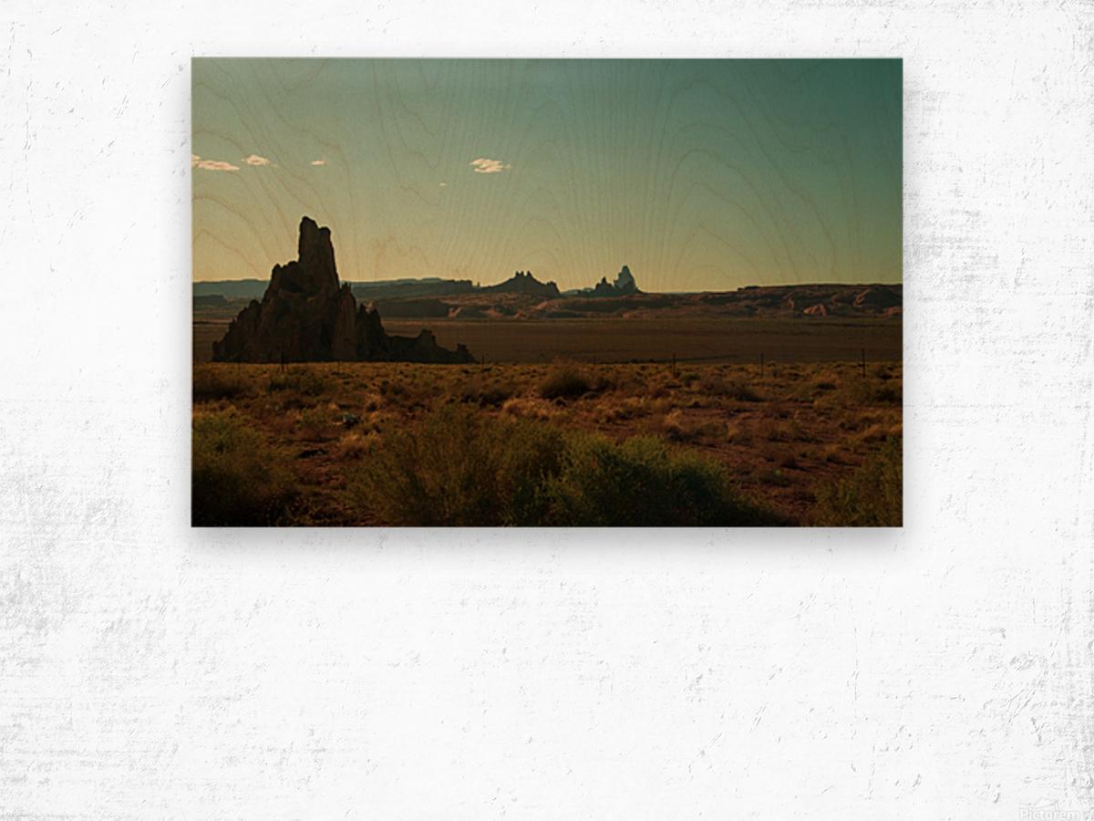 Desert Scene Sunset Wood print