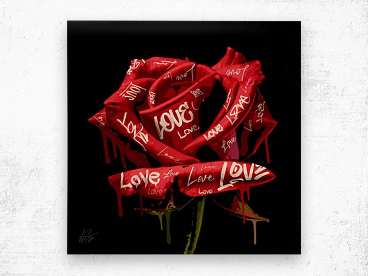 Graffiti Rose Wood print