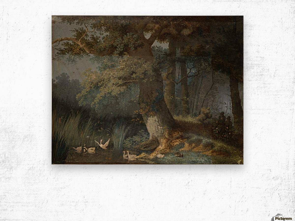 Eendenvijver in een bos met twee jagers Wood print