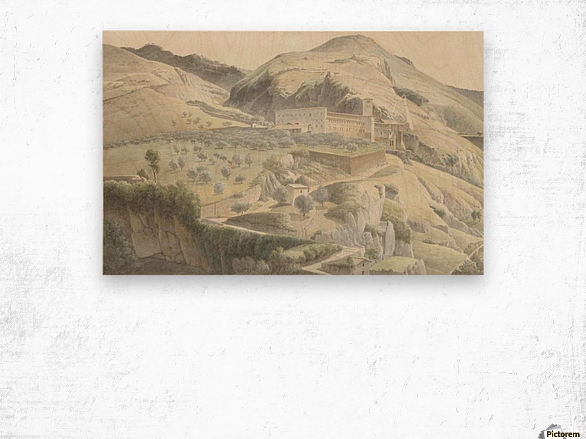 Landschap met klooster bij Subiaco Wood print