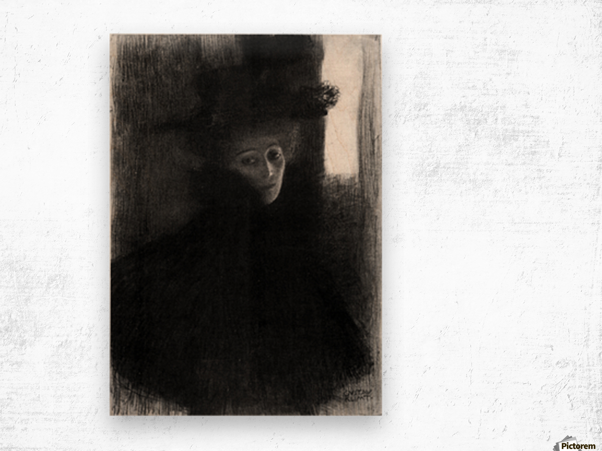 Lady with a hat and Cape by Klimt Wood print