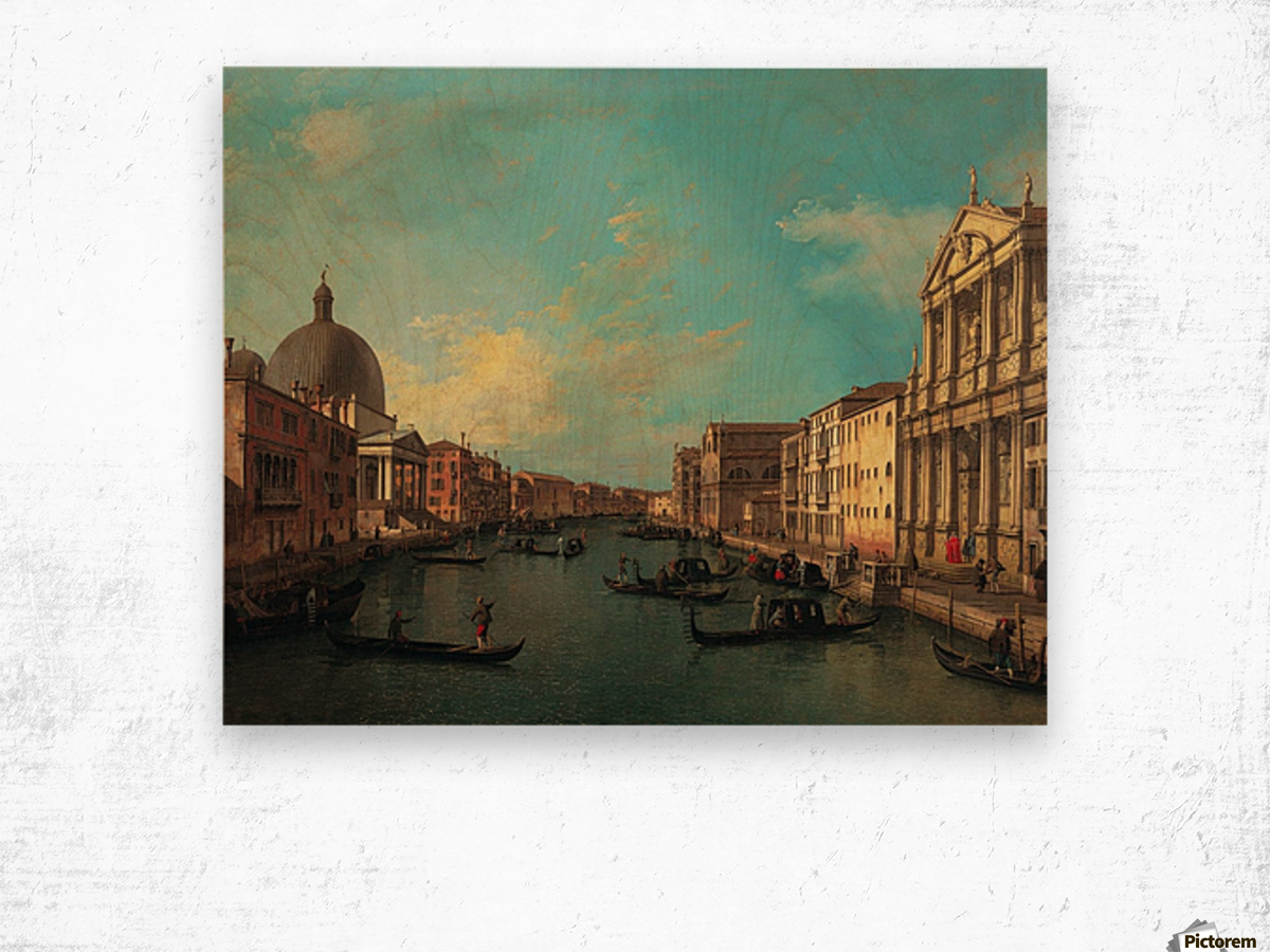 Venezia with figures along the canal Wood print