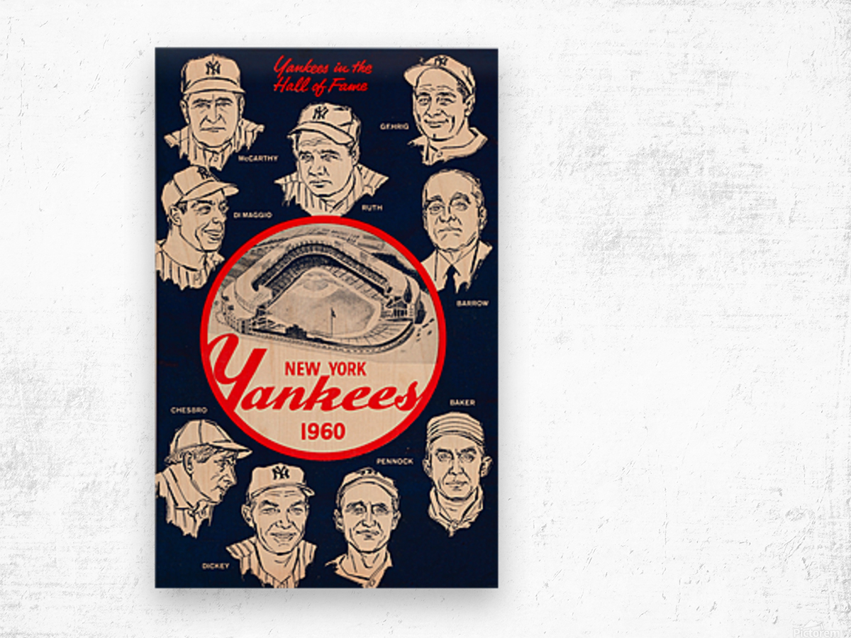 1960 New York Yankees In The Hall Of Fame Art Wood print