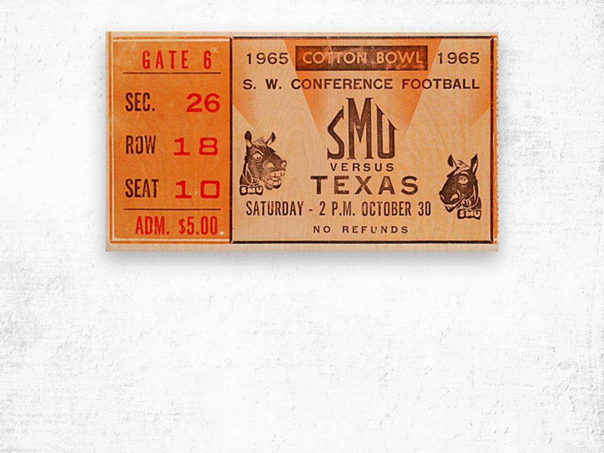 1965 texas longhorns smu mustangs college football Wood print