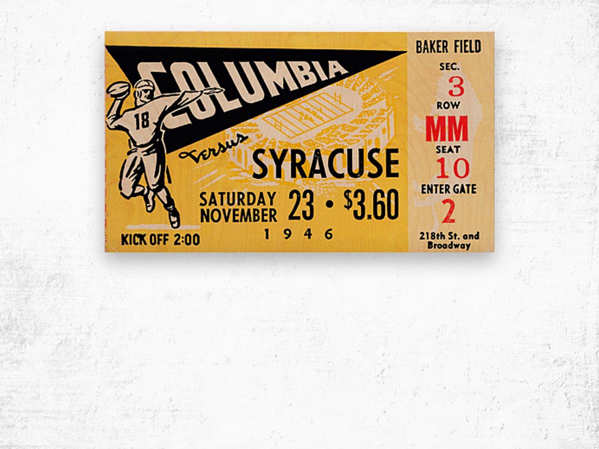 1946 columbia syracuse football ticket stub art number 18 jersey Wood print
