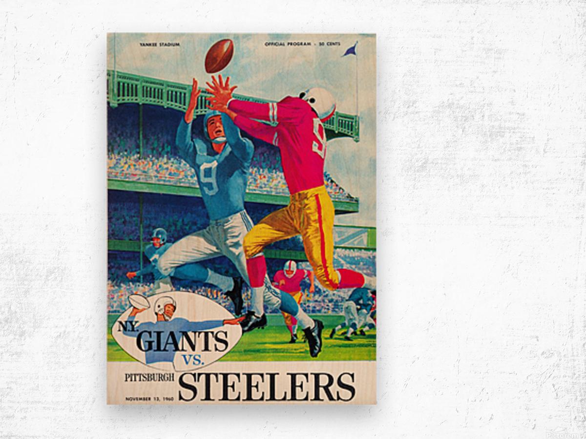 1960 new york giants program cover print on wood Wood print