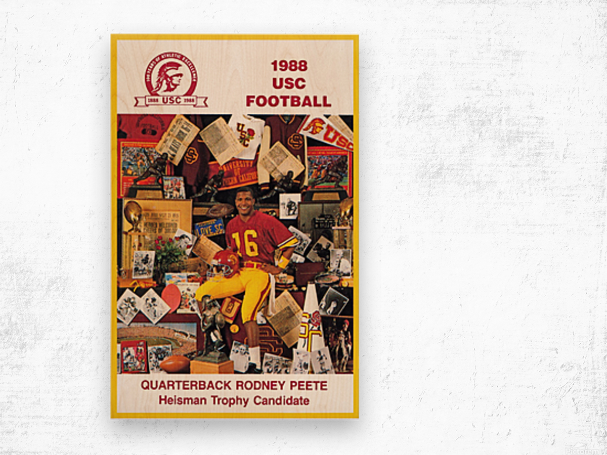 1988 usc football poster heisman candidate rodney peete Wood print