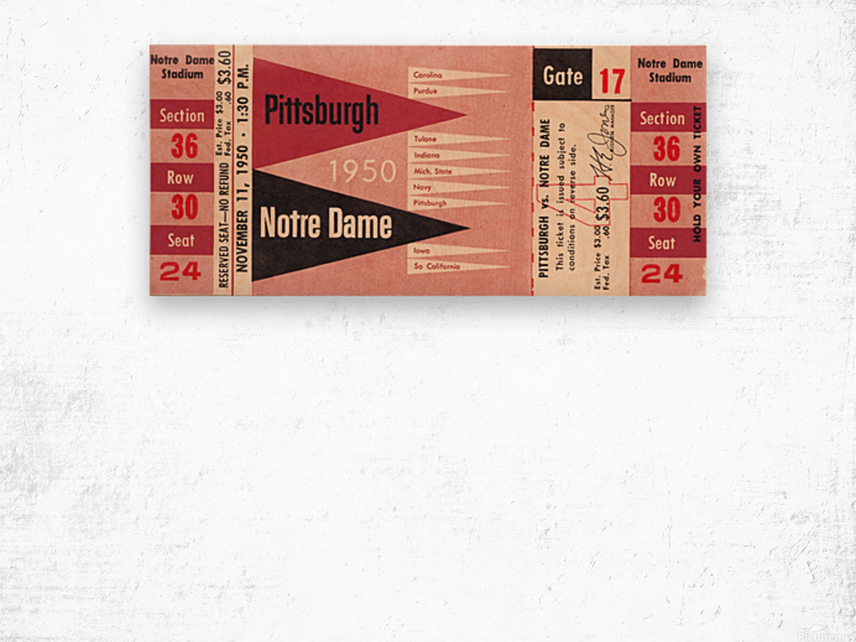 1950 pittsburgh notre dame vintage college football ticket wall art Wood print