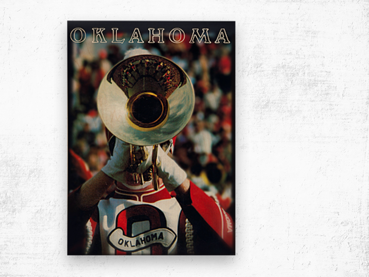 1983 pride of oklahoma retro college marching band poster Wood print