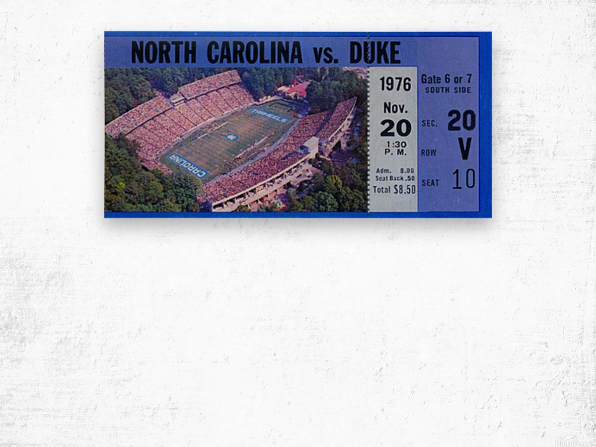 1976 duke north carolina vintage college football ticket art for the wall Wood print