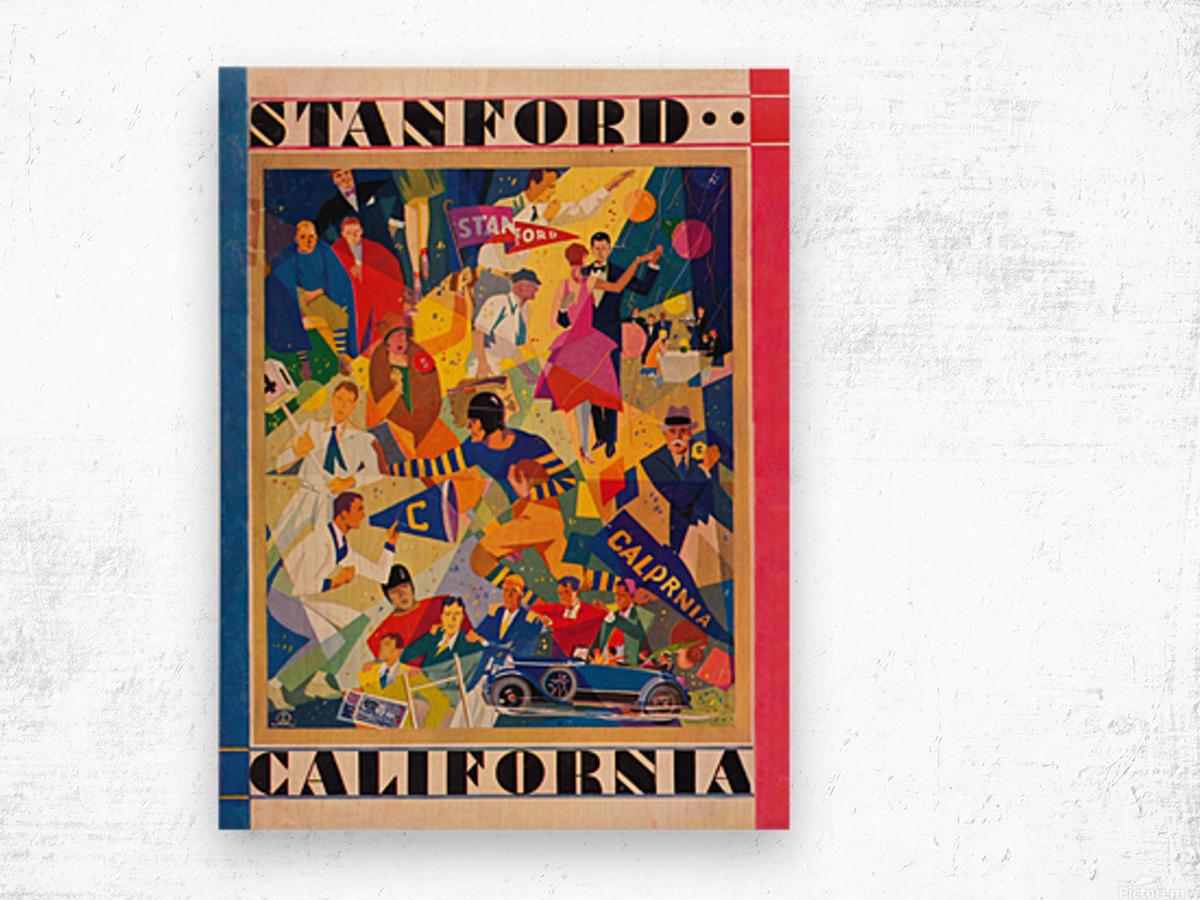 1928 cal stanford football program cover artwork for walls Wood print