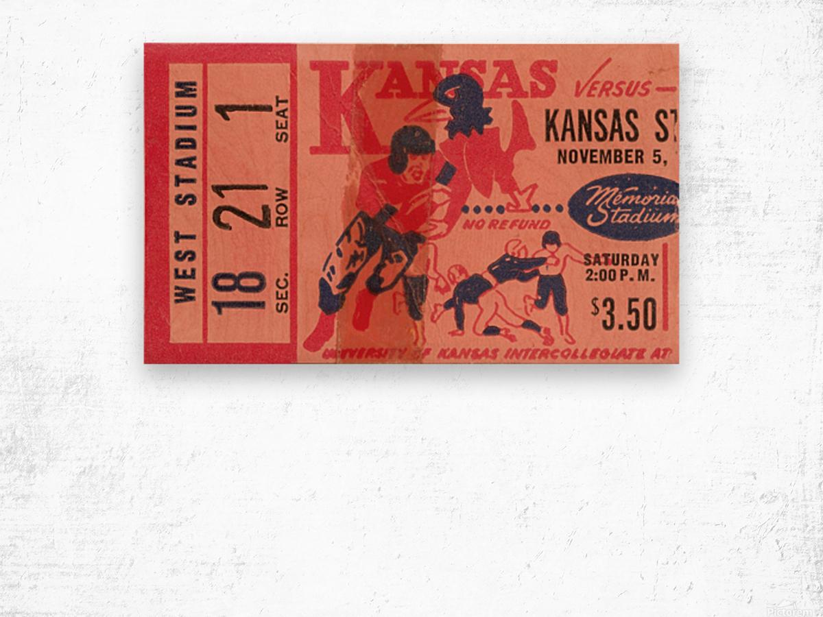 1955 university of kansas jayhawks super vintage college football art Wood print