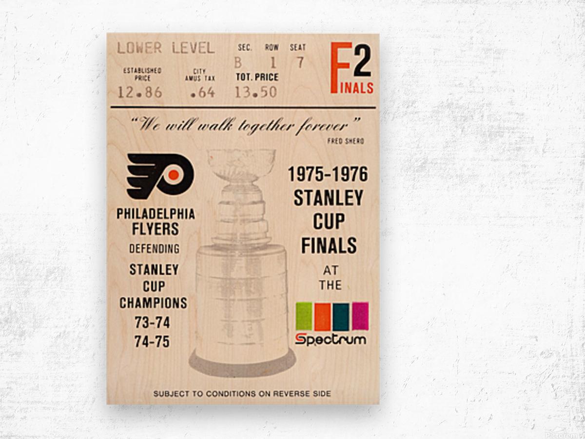1975 stanley cup finals philadelphia flyers ticket stub hockey poster Wood print