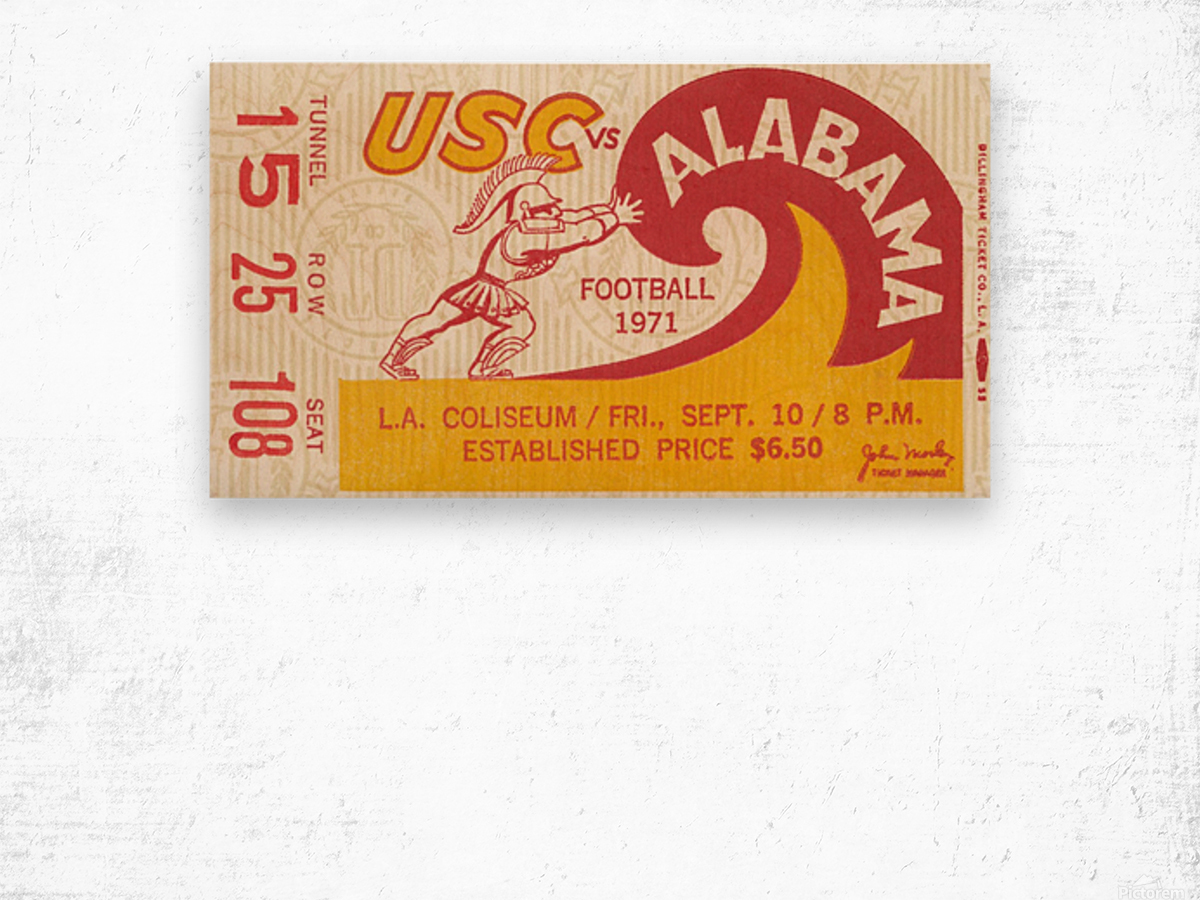 1971 alabama usc trojans football ticket stub prints on wood Wood print