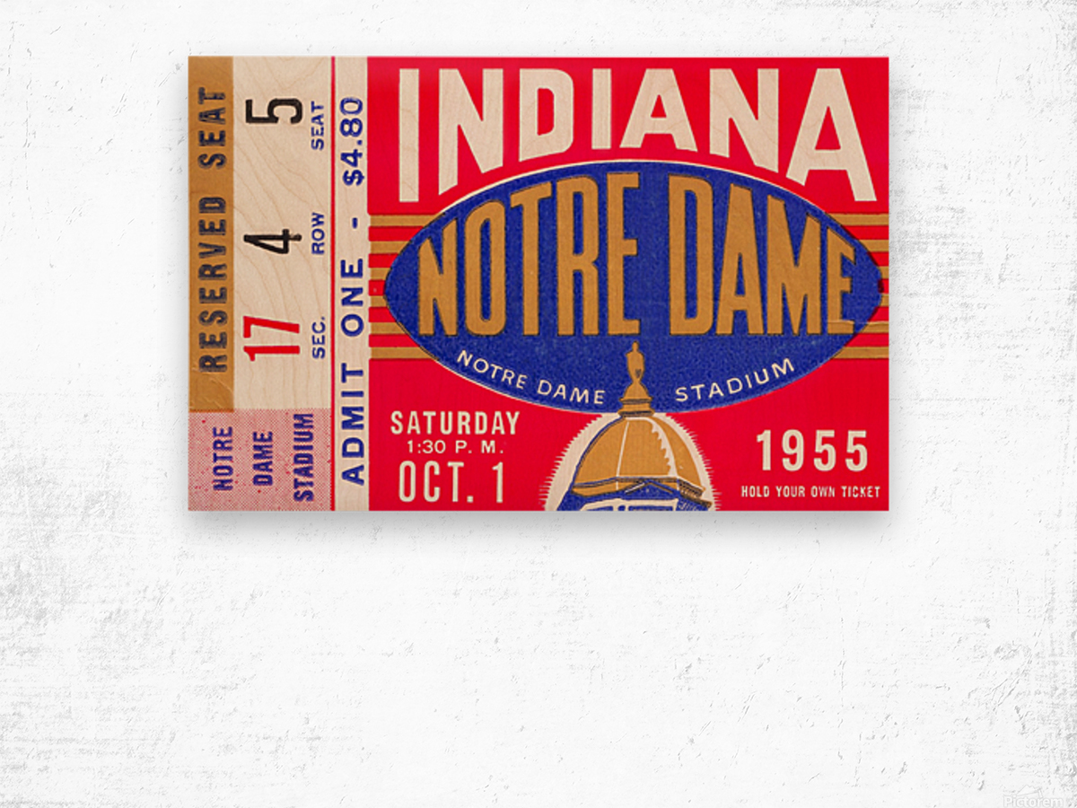 1955 indiana notre dame football ticket stub wall art canvas posters wood Wood print