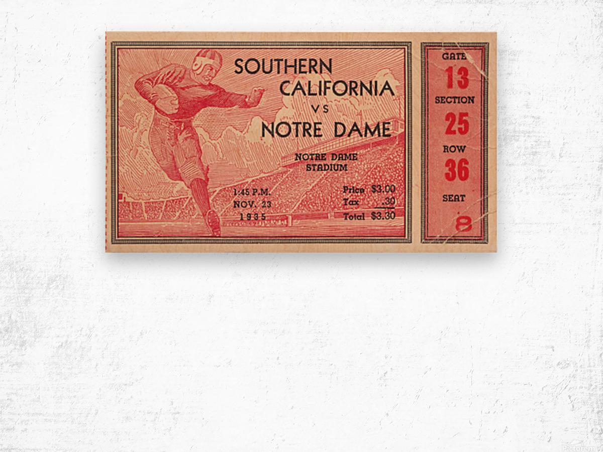 1935 Notre Dame Irish USC Trojans College Ticket Stub Art Wood print