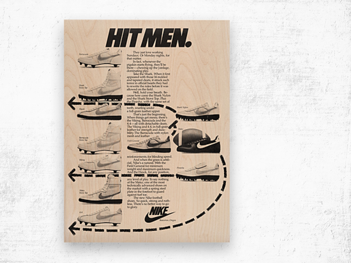 Hit Men Nike Shoes Ad Poster Reproduction 1982 Wood print