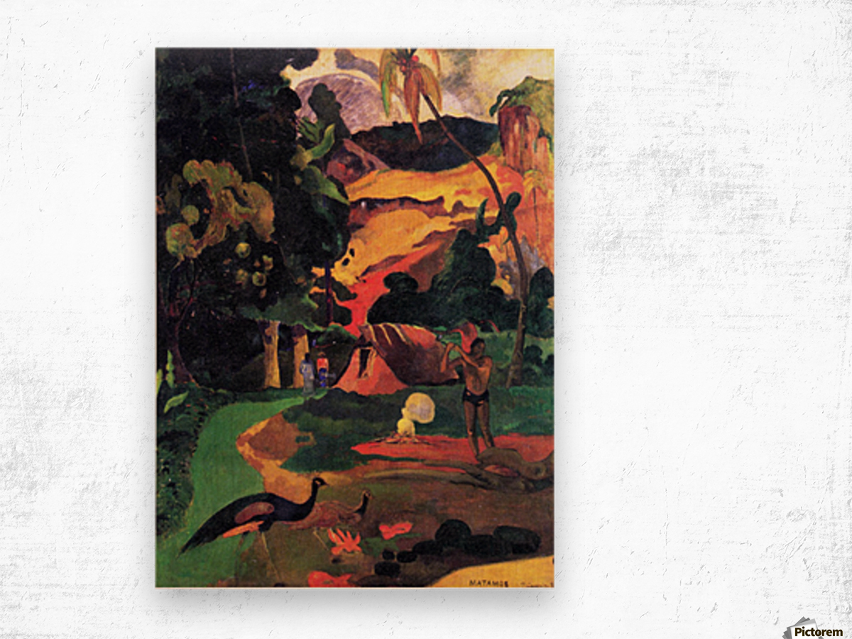 Landscape With Peacocks by Gauguin Wood print