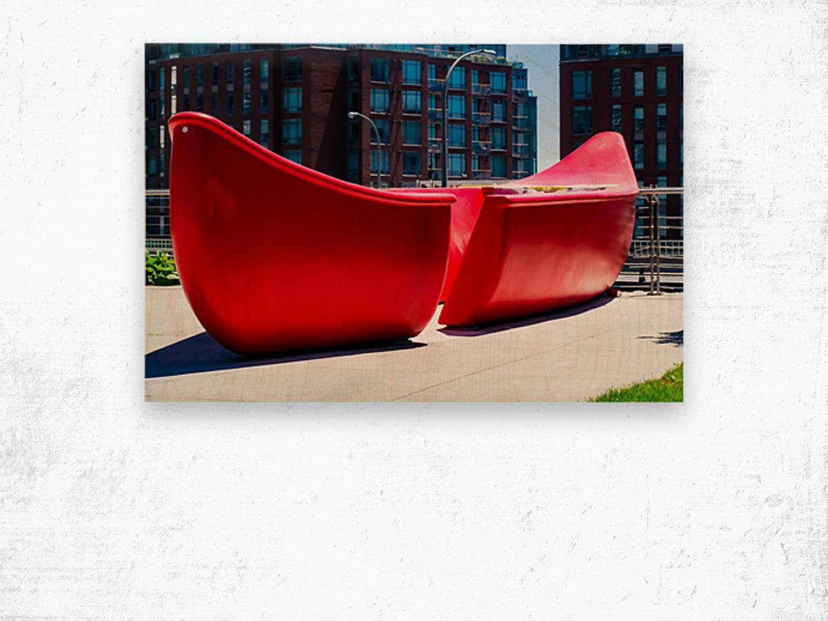 Red Canoe Wood print