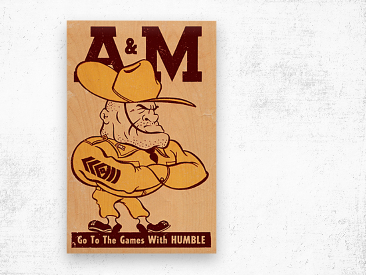 Vintage Texas A&M Ol Sarge Art Wood print