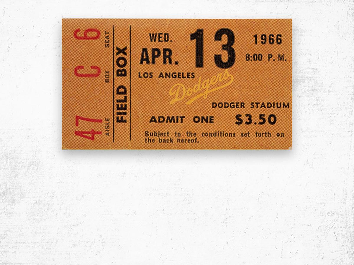 1966 la dodgers baseball ticket stub canvas art Wood print