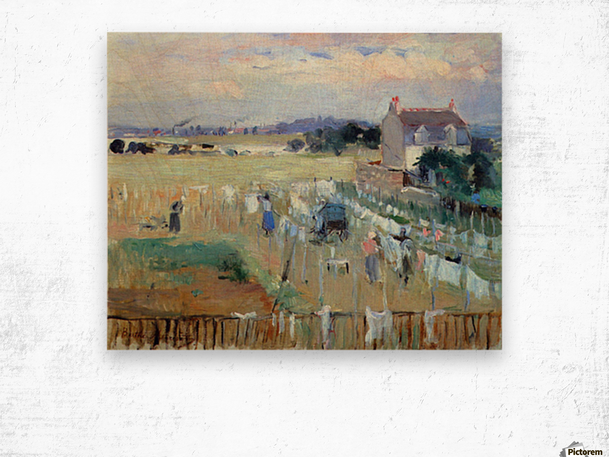 Laundry drying by Morisot Wood print