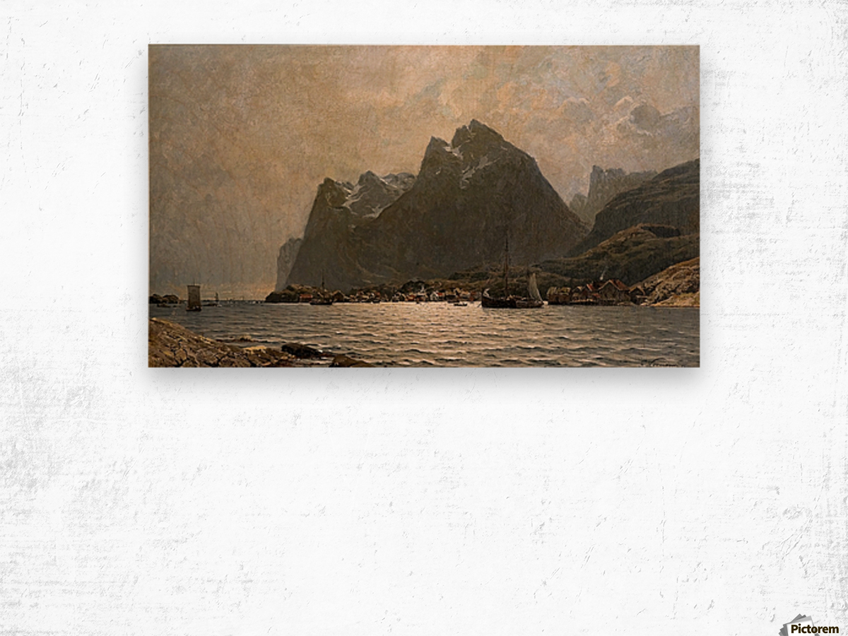 Fjord landscape with ships and figures Wood print