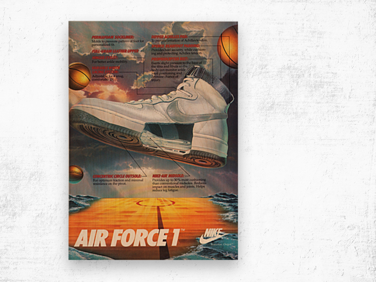 1984 Nike Air Force 1 Shoe Advertisement  Wood print