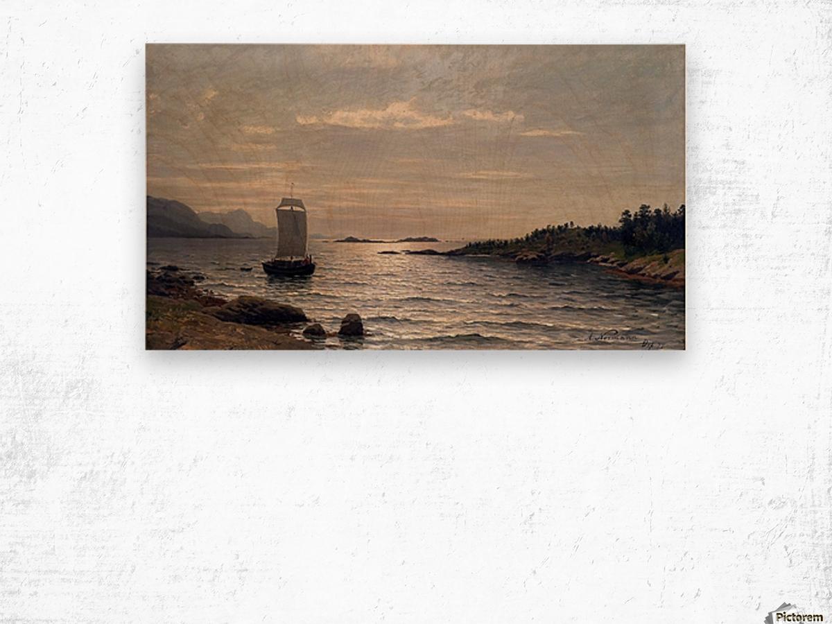 Seilskute i kystlandskap Wood print