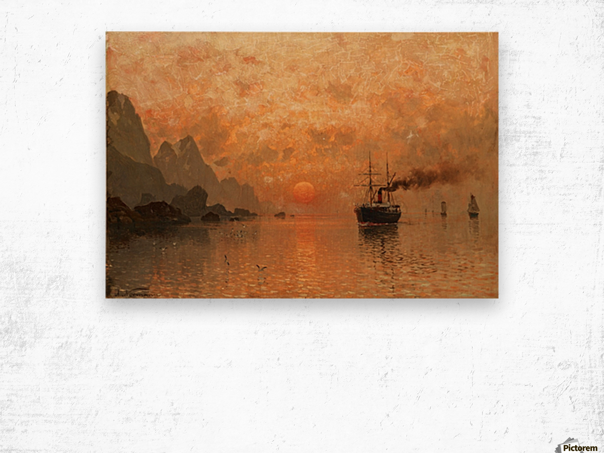 Ships in the Sunset Wood print