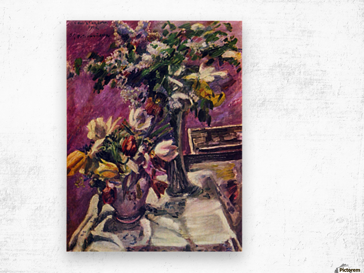 Lilac and tulips by Corinth Wood print