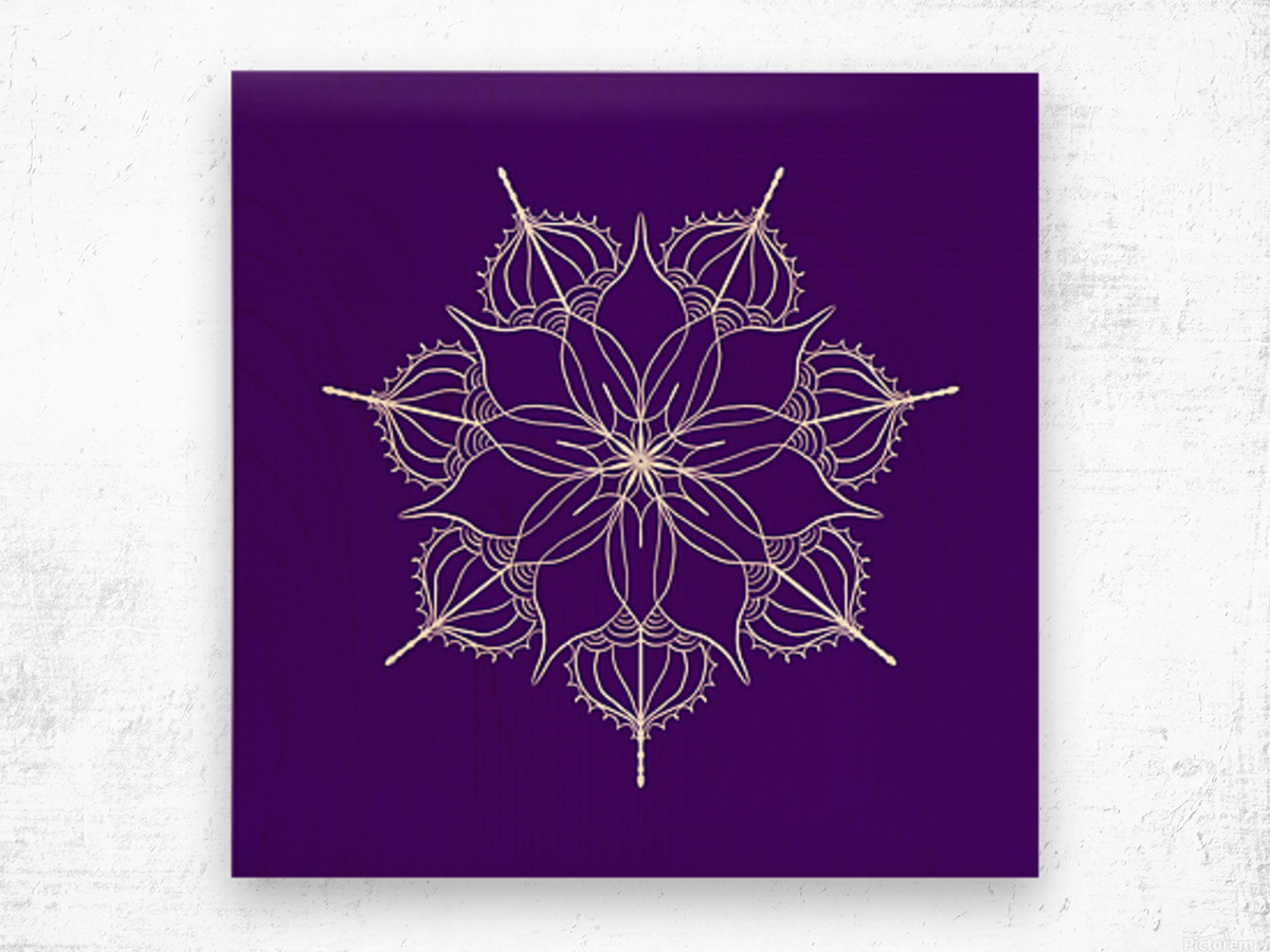 blue flower mandala Wood print