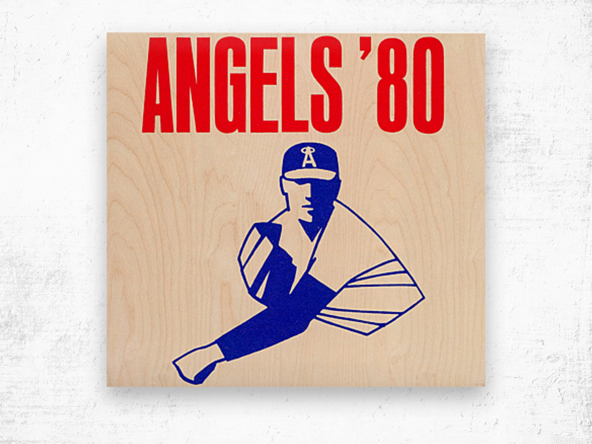 1980 california angels baseball pitcher art Wood print
