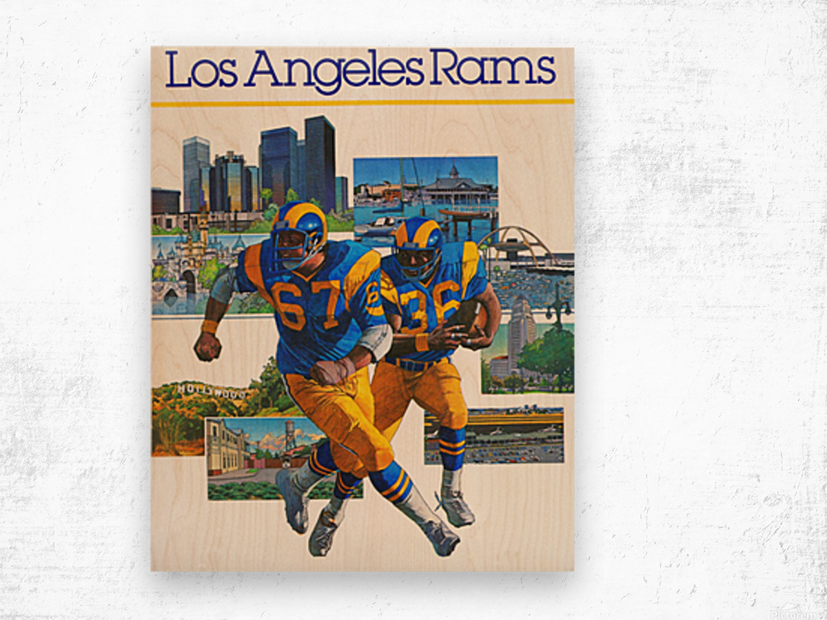1982 la rams downtown los angeles hollywood poster Wood print