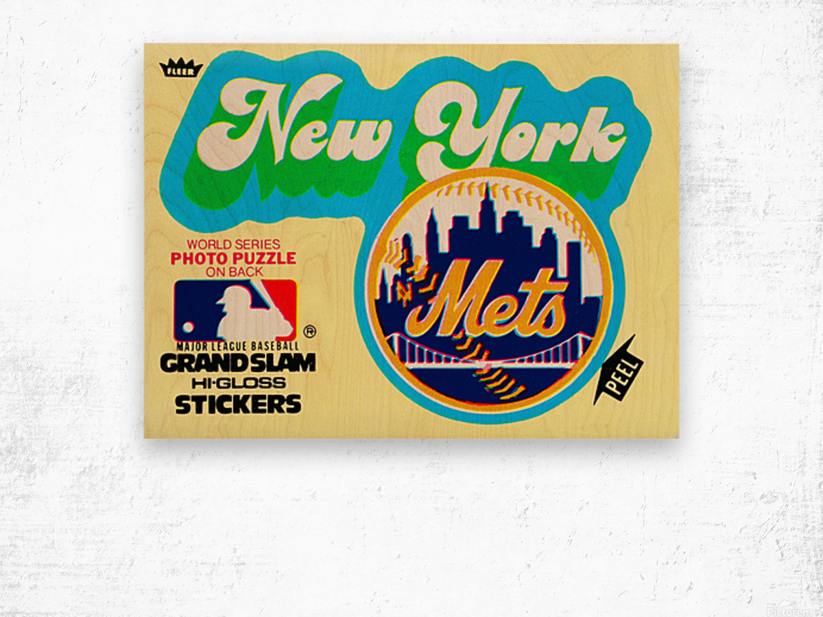 1979 fleer hi gloss sticker new york mets wall art Wood print