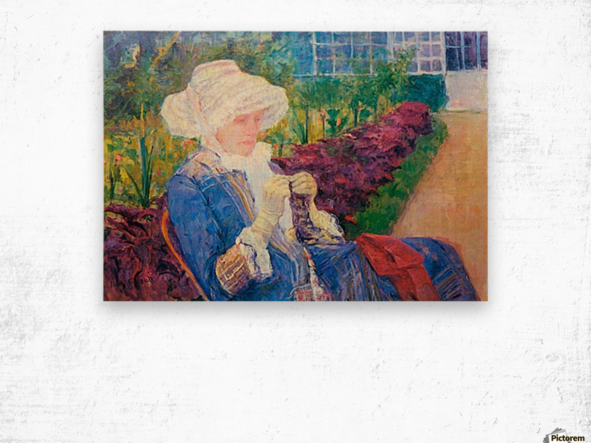 Lydia in the garden of Marly by Cassatt Wood print