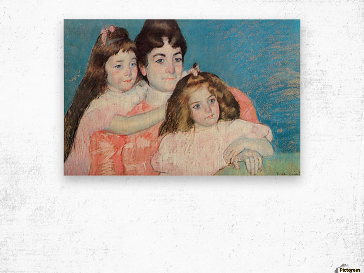 Madame A.F. Aude with her two daughters by Cassatt Wood print