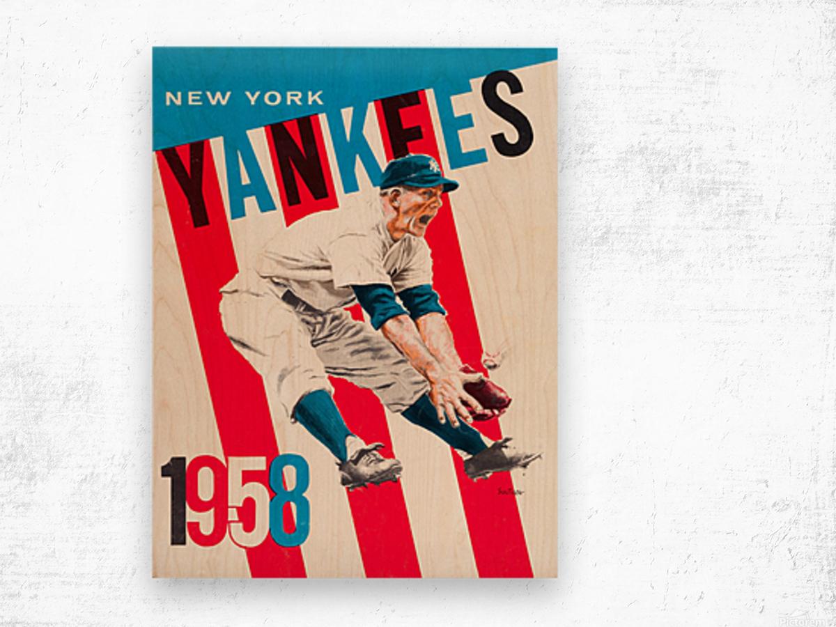 1958 new york yankees vintage baseball art Wood print