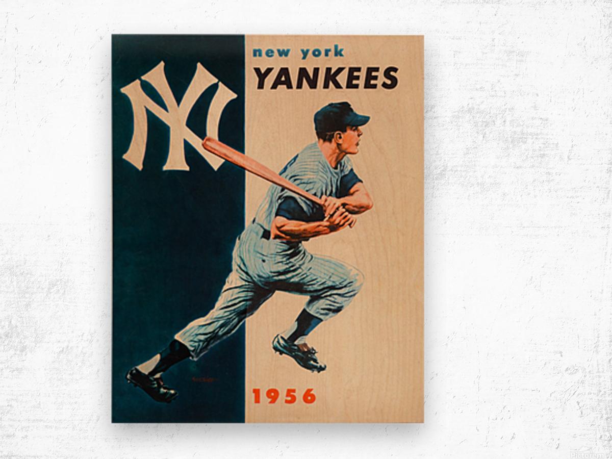 1956 new york yankees vintage baseball art Wood print