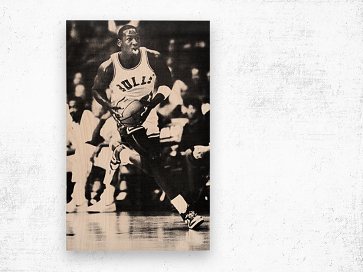 1985 Michael Jordan Black and White Poster Wood print