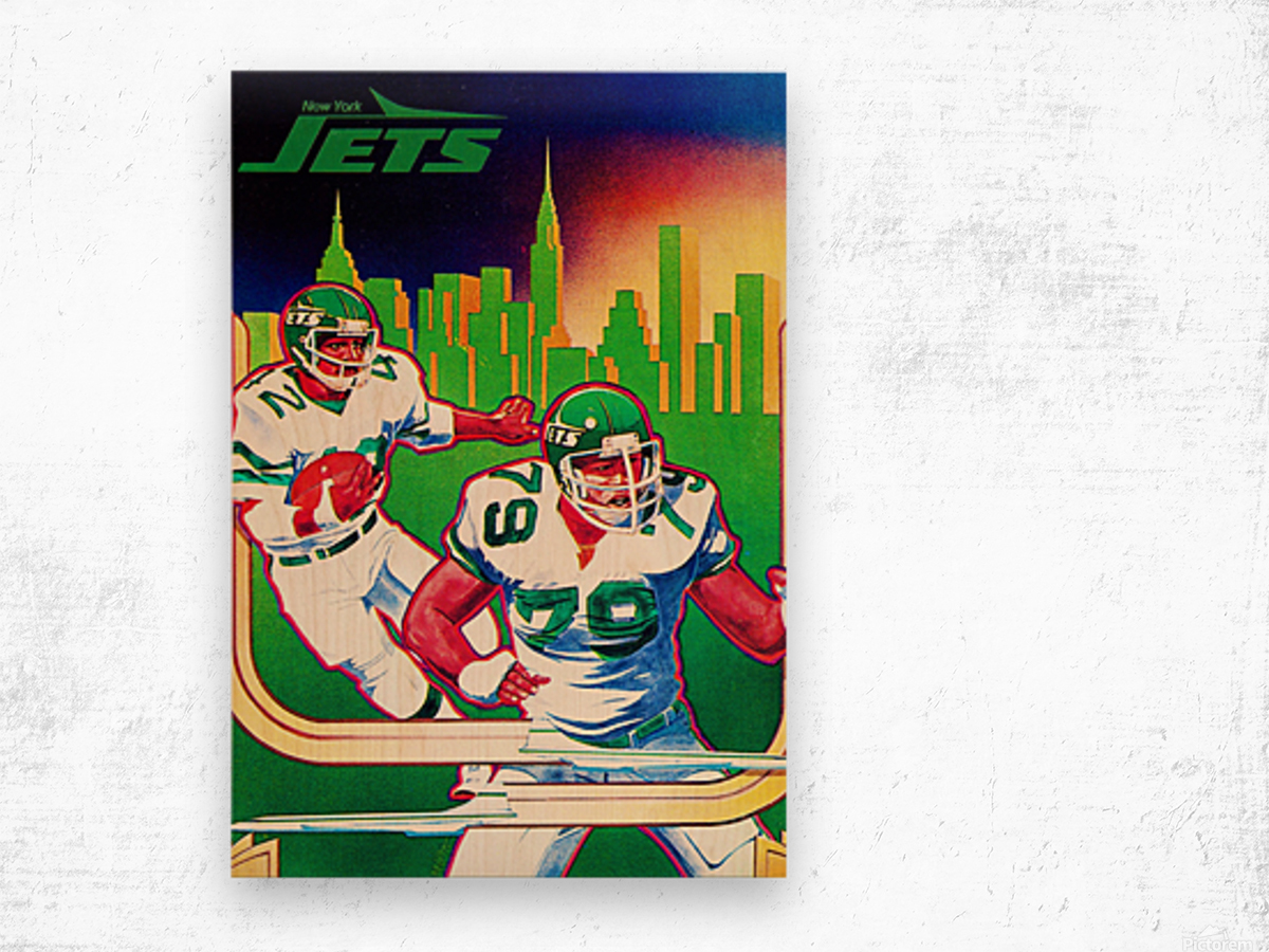1981 new york jets nyc cityscape football poster Wood print