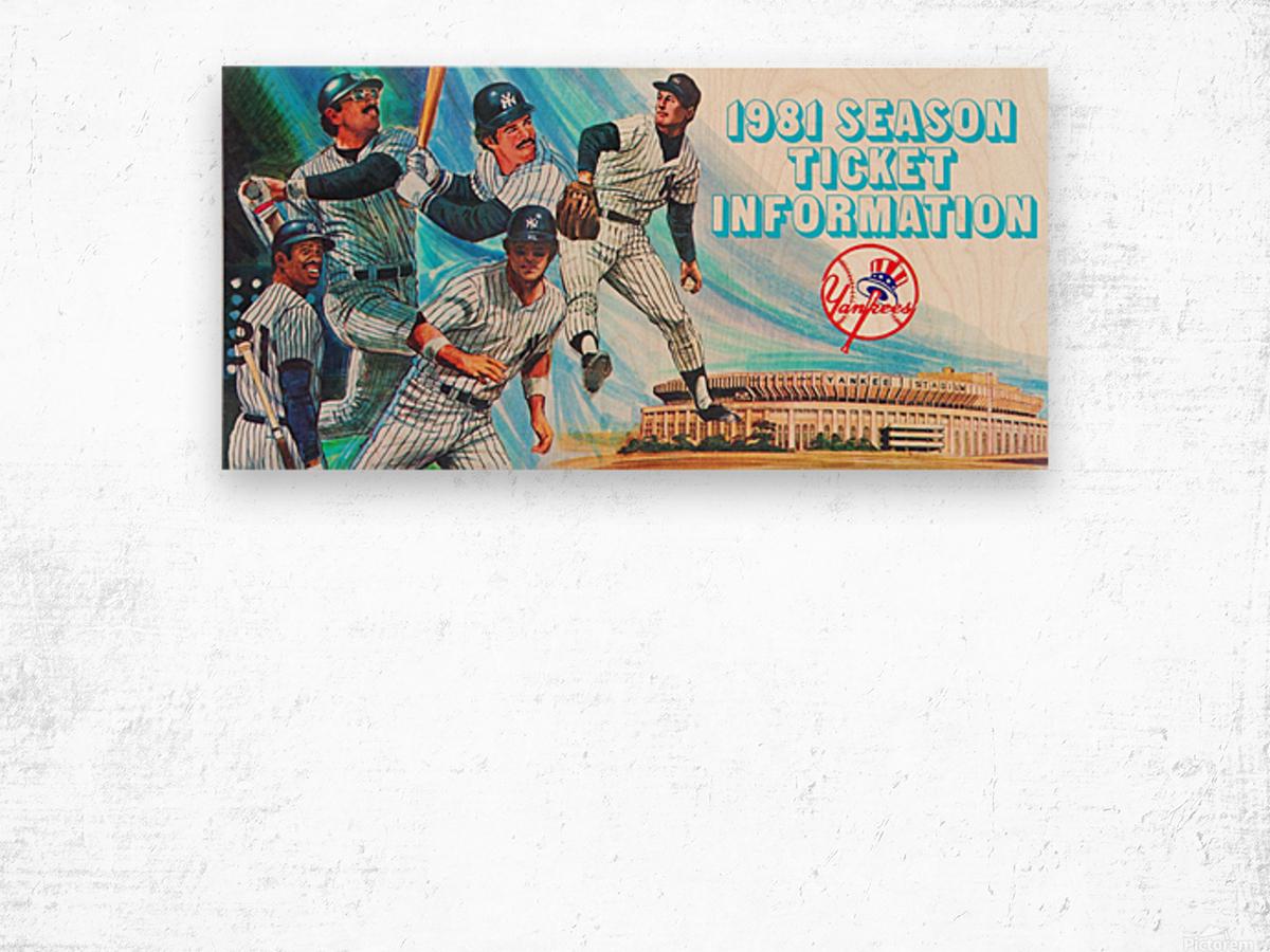 1981 new york yankees baseball season ticket information art Wood print