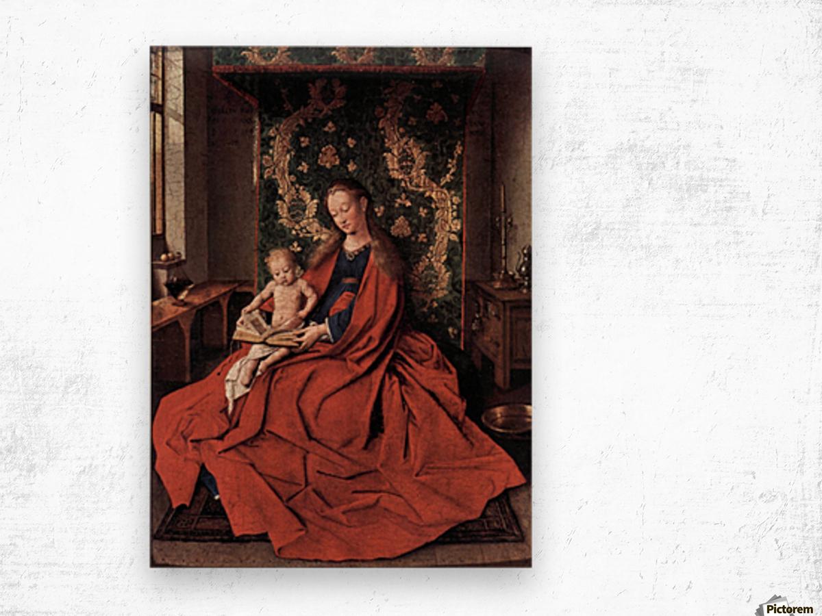 Madonna and child reading by Jan Van Eyck Wood print