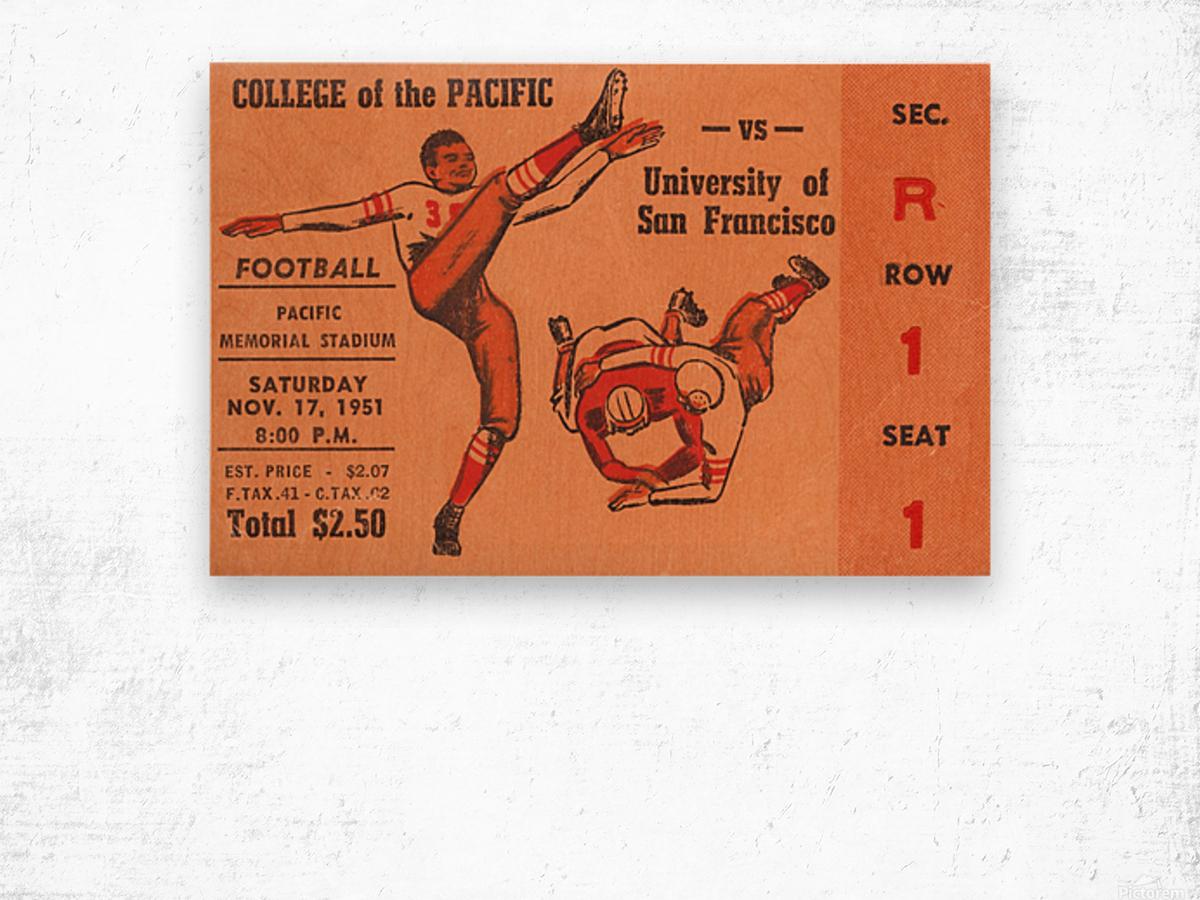 1951 college of the pacific university of san francisco stockton california Wood print