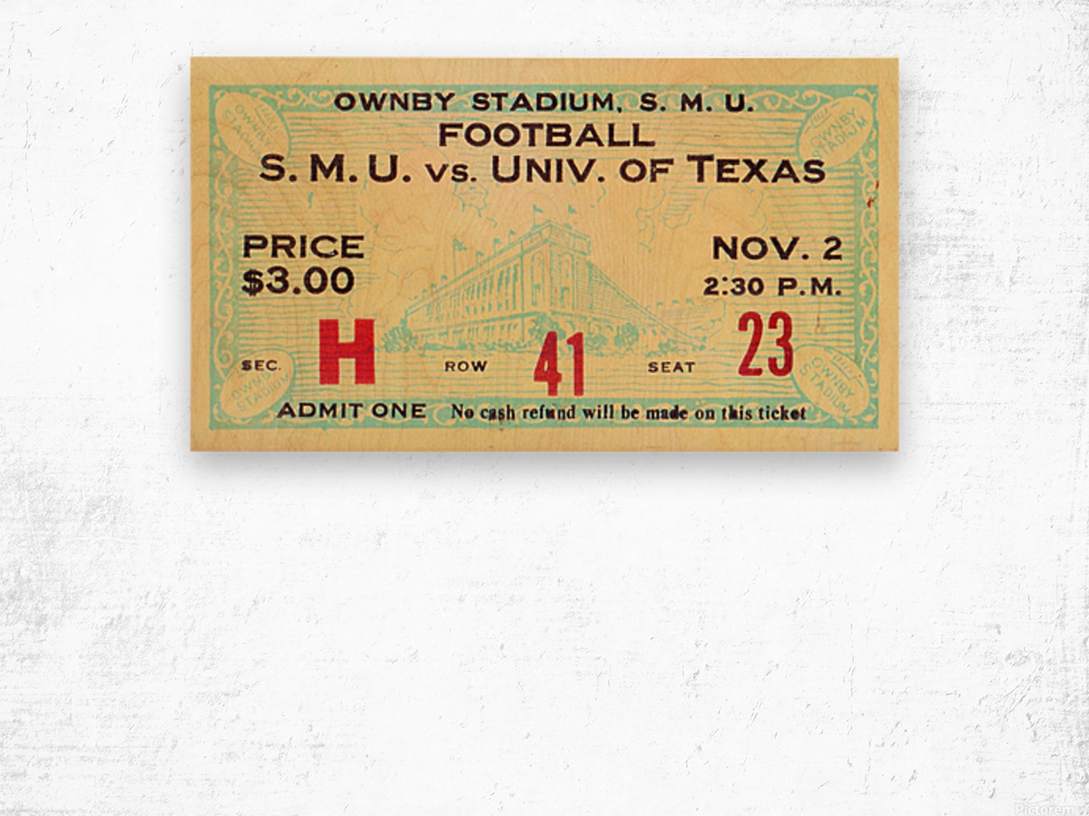 1935 SMU National Champions vs. Texas Wood print