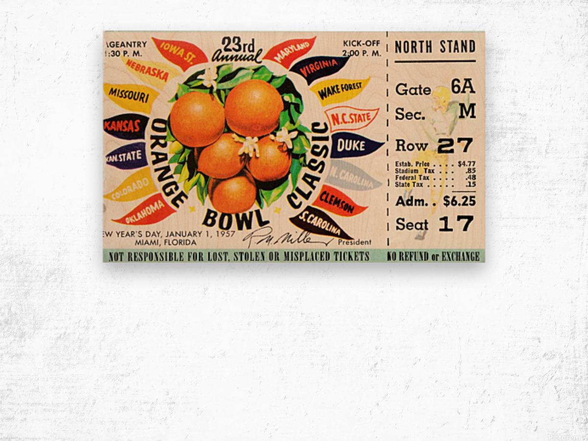 1957_College_Football_Orange Bowl_Clemson vs. Colorado_Orange Bowl Stadium Wood print