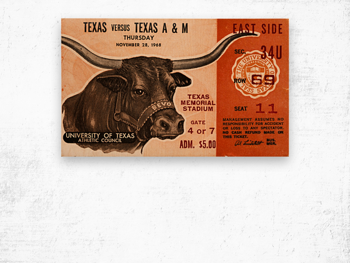 1968 Texas vs. Texas A&M Wood print