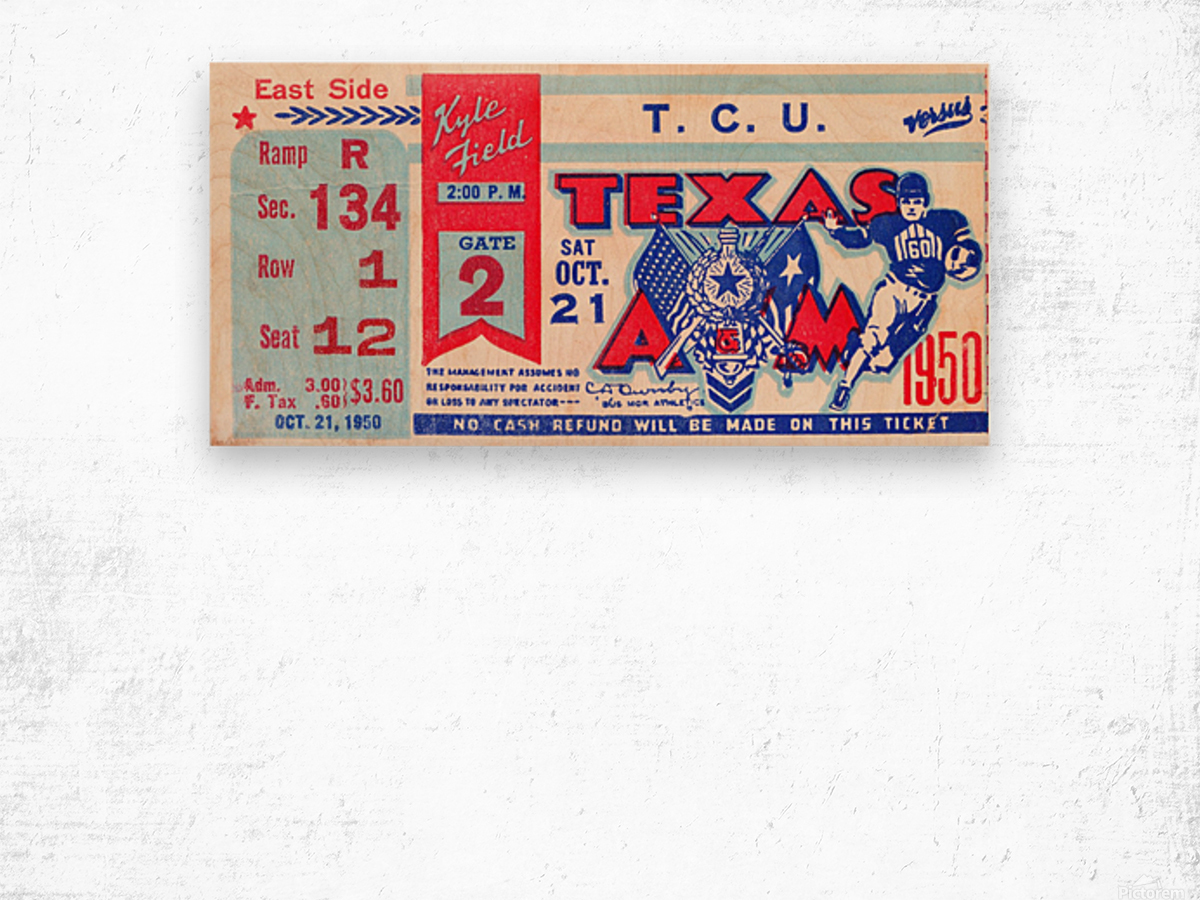 1950 texas am aggies tcu football ticket stub art kyle field college station Wood print