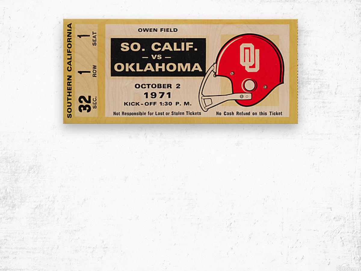 1971 usc trojans oklahoma sooners owen field norman ok football ticket wall art Wood print